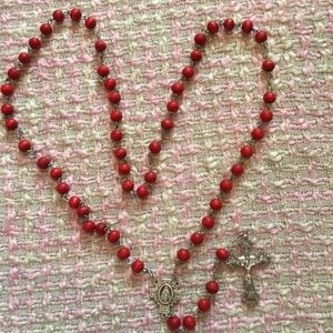 Other - NWOT Rose Scented Wood Rosary